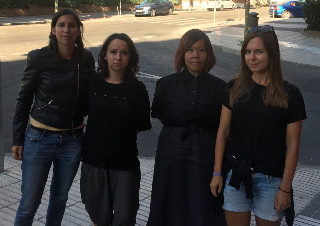 Elly Schlein, MEP of Possibile, in support of #czarnyprotest with two activists from the left movement Razem that started the protest and Winnie Wong from Bernie Sanders' campaign.