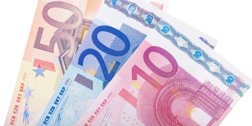 80 euro in various notes. All on white background.