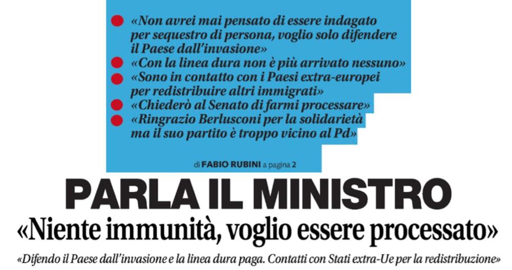 Diciotti, Brignone:Salvini ha paura, non voleva farsi processare?