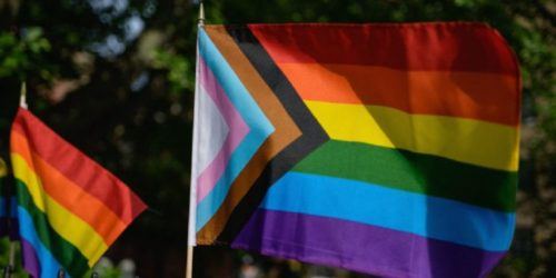 A Progress Pride flag and rainbow flags are seen at the Stonewall National Monument, the first US national monument dedicated to LGBTQ history and rights, marking the birthplace of the modern lesbian, gay, bisexual, transgender, and queer civil rights movement, on June 1, 2020 in New York City. (Photo by Angela Weiss / AFP) (Photo by ANGELA WEISS/AFP via Getty Images)